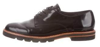 Stuart Weitzman Patent Leather Round-Toe Oxfords