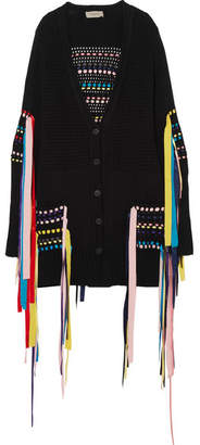 Preen Line Erya Ribbon-embellished Cotton-blend Cardigan - Black