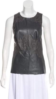 Bailey 44 Faux Leather Lace-Paneled Top