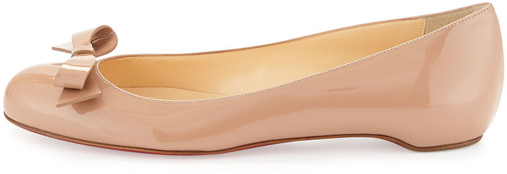 Christian Louboutin Simplenodo Red-Sole Bow Flat, Neutral
