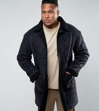 Asos Sixth June Faux Shearling Jacket In Black exclusive to