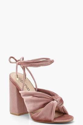 boohoo Velvet Cross Strap Ankle Wrap Block Heels