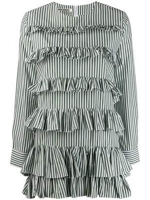 ANAÏS JOURDEN striped ruffled mini shirt dress