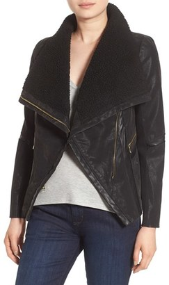 Women's Guess Faux Leather Moto Jacket With Faux Fur Trim $150 thestylecure.com