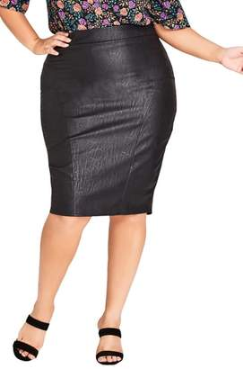 City Chic Truth Faux Leather Pencil Skirt