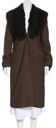 Fendi Vintage Fur-Trimmed Wool Coat