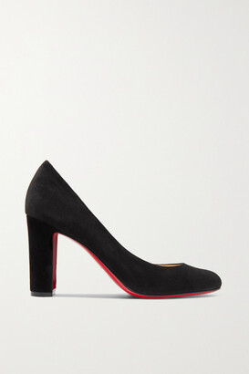 Christian Louboutin Lady Gena 85 Suede Pumps - Black