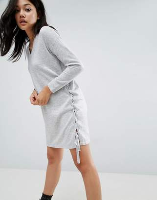 Asos Jumper Dress With V Neck And Lace Up Sides