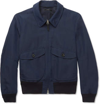 Tom Ford Linen, Silk And Wool-Blend Blouson Jacket