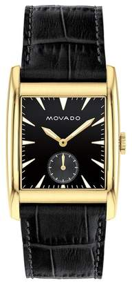 Movado Men's Heritage Swiss Quartz Embossed Leather Watch, 41mm