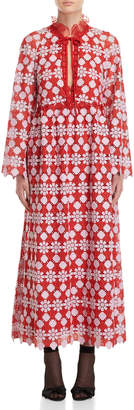 Giamba Red & Lilac Macrame Lace Gown