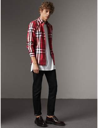 Burberry Check Stretch Cotton Shirt , Size: M, Red
