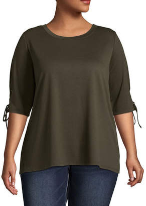 Boutique + + 3/4 Sleeve Round Neck T-Shirt - Plus