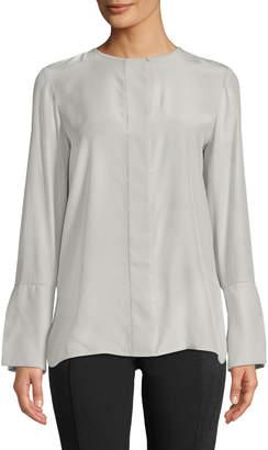Lafayette 148 New York Georgie Silk Beaded-Trim Long-Sleeve Blouse