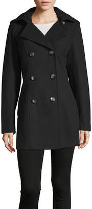 Liz Claiborne Midweight Hooded Peacoat-Tall