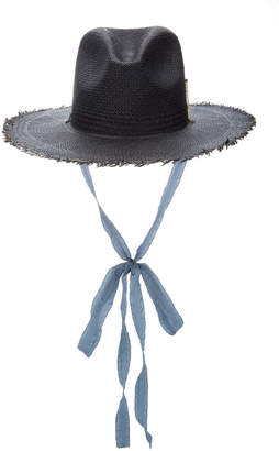 Brock Collection x Nick Fouquet Silk-Trimmed Frayed Straw Fedora Size: