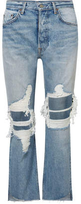 GRLFRND Helena Distressed High-rise Straight-leg Jeans - Mid denim