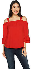 Laurie Felt Woven Blouse withCut Out Detail