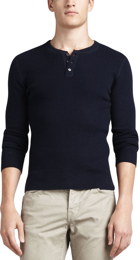 Vince Long-Sleeve Thermal Henley Sweater, Navy