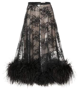 Christopher Kane Feather-trimmed lace skirt