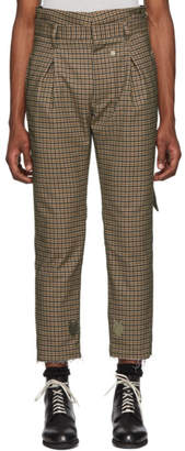 BED J.W. FORD Brown and Black Plaid High-Waisted Trousers