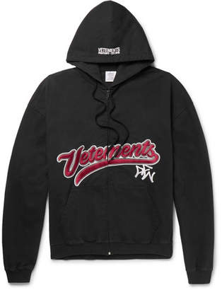 Embroidered Cotton-Jersey Zip-Up Hoodie