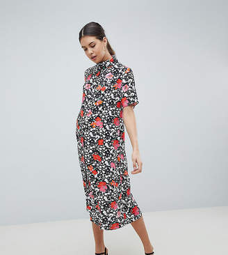 Asos DESIGN Maternity Midi Dress With Button Through In Mono Floral