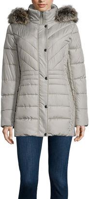 LIZ CLAIBORNE Liz Claiborne Side Panel Puffer Jacket with Fur Hood - Tall $230 thestylecure.com