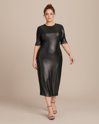 Sally LaPointe Stretch Sequins Fitted Tee Dress
