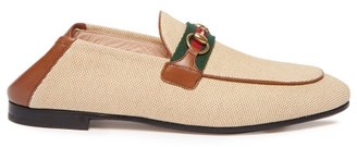 Gucci Brixton Collapsible Heel Canvas Loafers - Womens - Tan Multi
