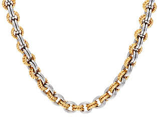 """Steel by Design Stainless Steel Two-Tone Textured Link 20""""Necklace"""