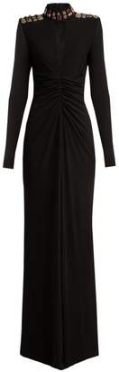 Alexander McQueen Cut Out Embellished Jersey Evening Gown - Womens - Black Multi