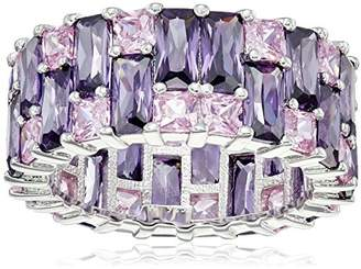 Charles Winston Sterling Silver Pink and Amy Cubic Zirconia Eternity Ring