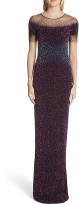 Pamella Roland Beaded Illusion Gown