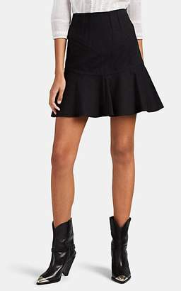 Isabel Marant Women's Kelly Cotton-Linen Flared Miniskirt - Black