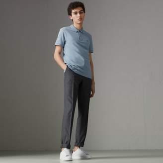 Burberry Print Trim Cotton Piqué Polo Shirt