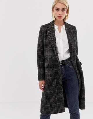 Vero Moda Check Double Breasted Tailored Coat