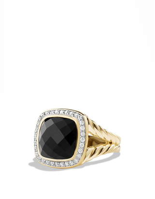 David Yurman 'Albion' Ring with Semiprecious Stone and Diamonds in 18K Gold