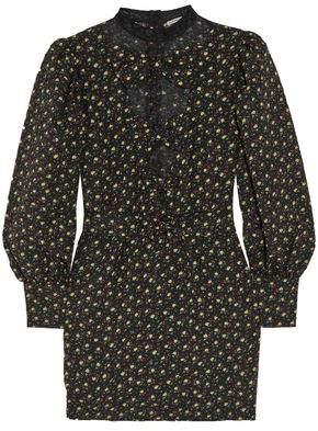 Alessandra Rich Lace-Paneled Floral-Print Cloqué Mini Dress