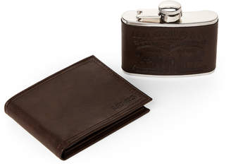 Levi's Two-Piece Brown Bi-Fold Wallet & Flask Set