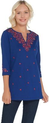 Factory Quacker Bandana Embroidered 3/4 Sleeve Knit Tunic
