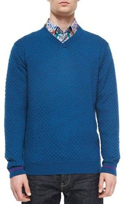 Robert Graham Bagley Textured V-Neck Sweater, Teal $228 thestylecure.com