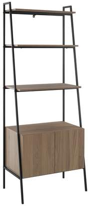 Walker Edison 72 Urban Industrial Metal and Wood Ladder Storage With Cabinet