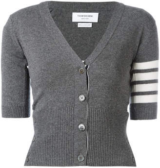 Thom Browne Short Sleeve V-neck Cardigan With 4-bar In Cashmere