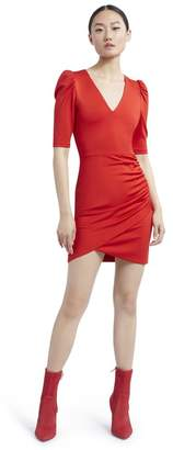 Alice + Olivia Judy Ruched Red Mini Dress