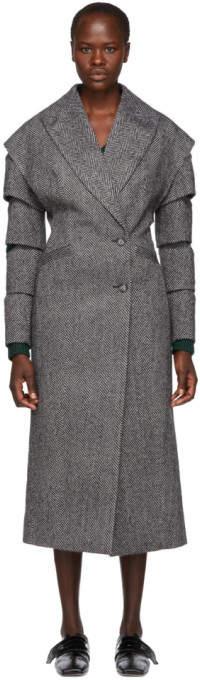 Black and White Wool Slash Coat