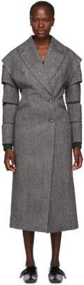 Christopher Kane Black and White Wool Slash Coat