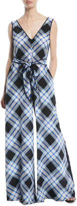 Diane von Furstenberg Belted Check Wide-Leg Jumpsuit