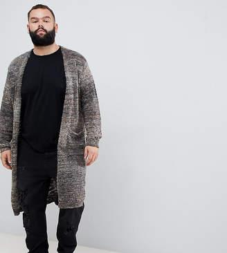 Asos DESIGN Plus longline textured cardigan in brown space dye yarn
