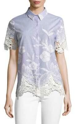 T Tahari Lola Floral Embroidered Blouse